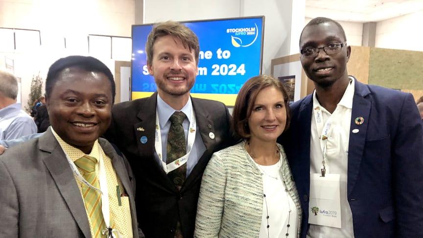 Dr. Daniel A Ofori (AFF), Dr. Fredrik Ingemarson (chef för sekretariatet 2024), Sveriges ambassadör Johanna Brismar Skoog samt IFSA:s president Amos. Foto: Mimmi Blom