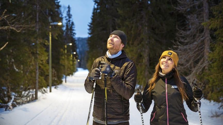 Elektroskandias Andreas Hasselblad och Jessica Vurestedt beundrar den nya belysningen.