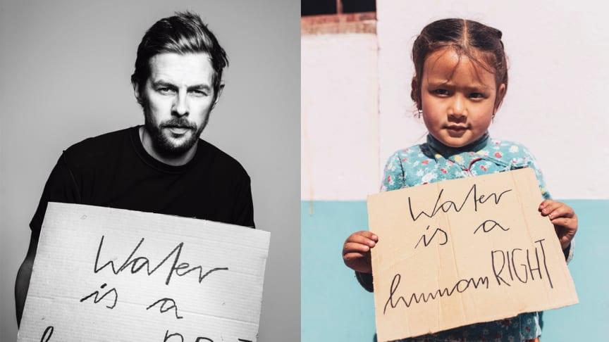 Auf dem Bild sind zwei Kinder zu sehen - eins aus Berlin und eins aus Kathmandu in Nepal: WATER IS A HUMAN RIGHT by Marco Fischer inspired by Viva con Agua