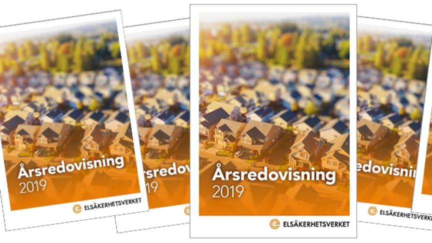 Bild föreställande framsidan av Elsäkerhetsverkets årsredovisning 2019