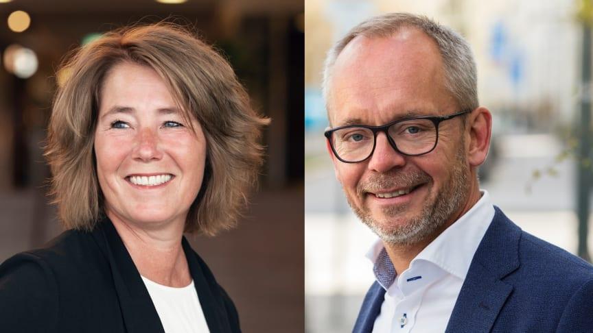 Johanna Frelin, vd Riksbyggen och Carl-Johan Hansson, tillträdande vd för Unobo AB.