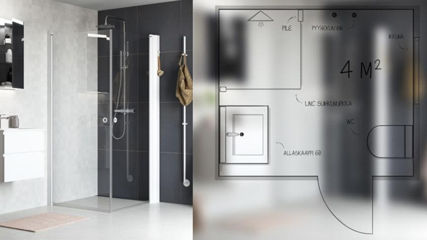 Näin suunnittelet kauniin ja käytännöllisen 4 neliömetrin kylpyhuoneen