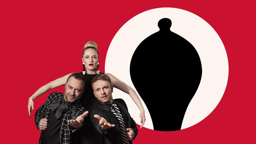 PLATT-FORM bestående af Mille Lehfeldt, Laus Høybye og Jakob Fauerby er værter ved Årets Reumert 2018. Foto: Ulrik Janzen
