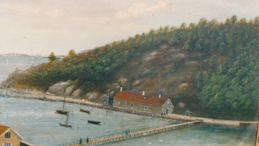 Gamla varmbadhuset med  Långabron i förgrunden. Del av akvarell av okänd konstnär. 1850-talet. Bild från www.sarokulturarv.se