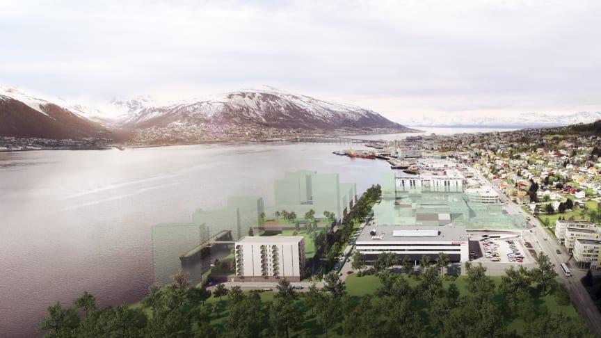 Prosjektet Kræmer Brygge i Tromsø er ett av prosjektene som får konseptutredningsstøtte fra Enova (illustrasjonfoto: Kræmer Eiendom).