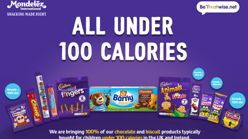 Mondelēz International to bring 100% of its chocolate and biscuit products typically bought for children under 100 calories in the UK and Ireland.