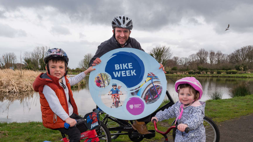 The Picken Family: dad Glenn and little Harry and Erin are all geared up for #BikeWeekMEA