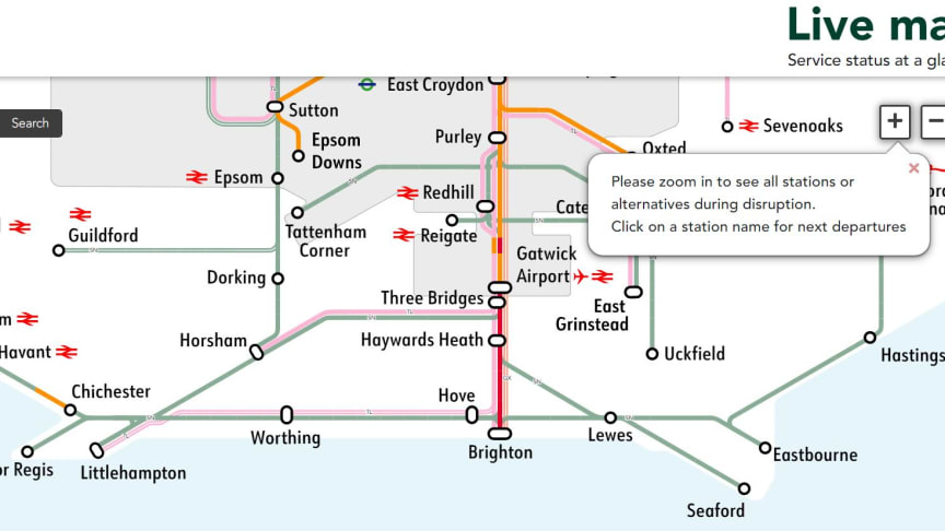 The Live Map feature is now available across Southern, Great Northern and Thameslink websites. More images below.