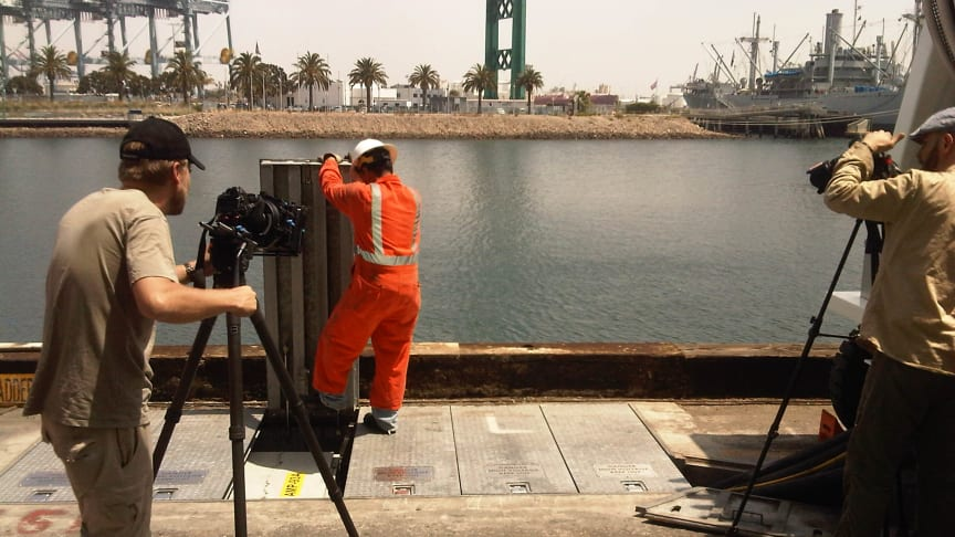 Cavotec film crew shooting AMP pit systems at the POLA #Cavotecfilm #shorepower