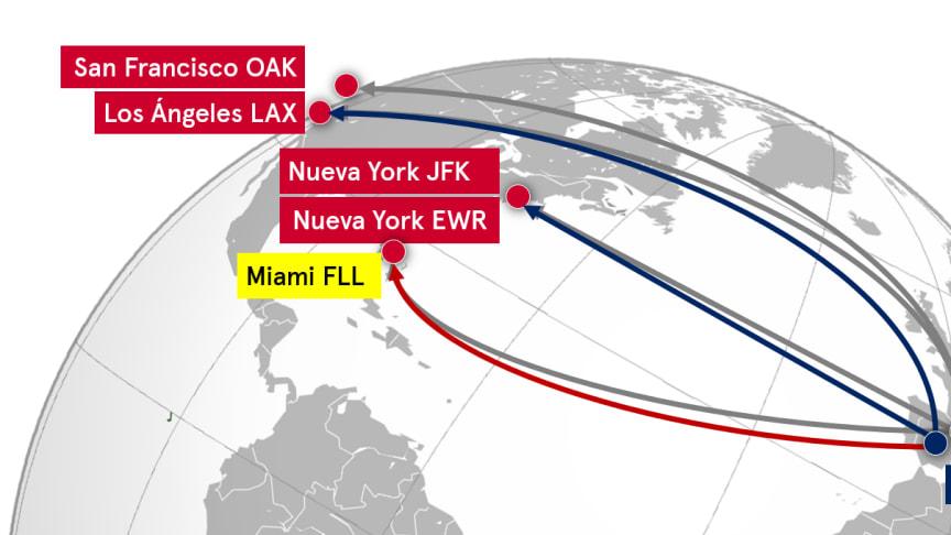 Norwegian lanza su tercera ruta transoceánica desde Madrid.
