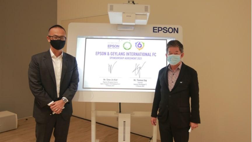 (Left) Mr Siew Jin Kiat, Regional Managing Director, Epson Southeast Asia (Left) with  (Right) Mr. Thomas Gay, Chairman, Geylang International Football Club (GIFC)