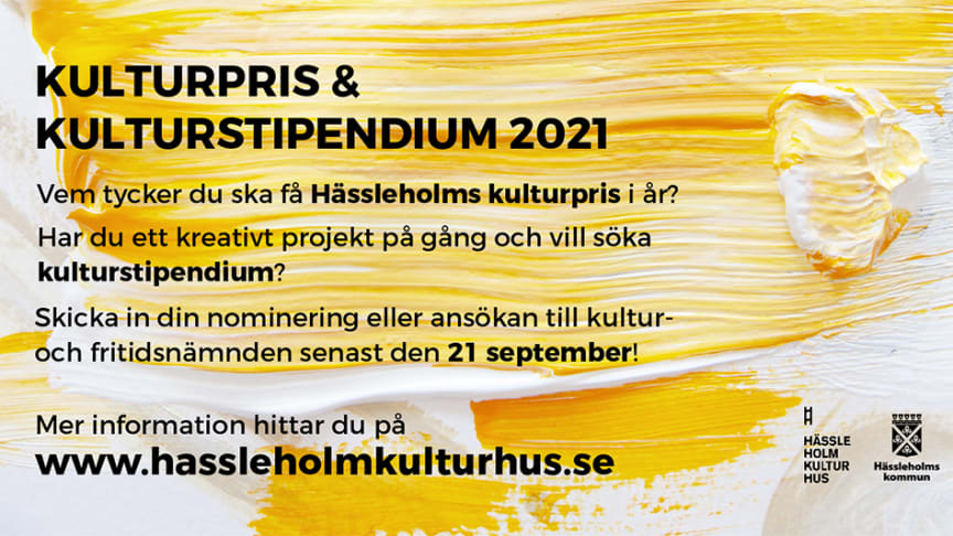 Annons kulturpris och kulturstipendium