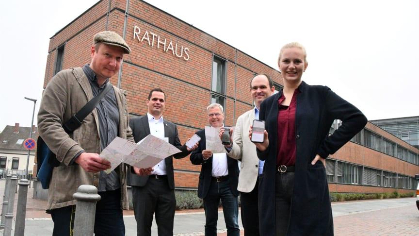 Bekannte Orte neu entdecken. Von links: Traugott Haas, Kristian Kater, Dr. Frank Käthler, Kai Jansen und Nicole Helis. Foto: Stadt Vechta/Volker Kläne