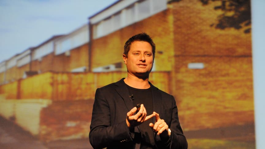 George Clarke speaking at a public lecture at Northumbria University