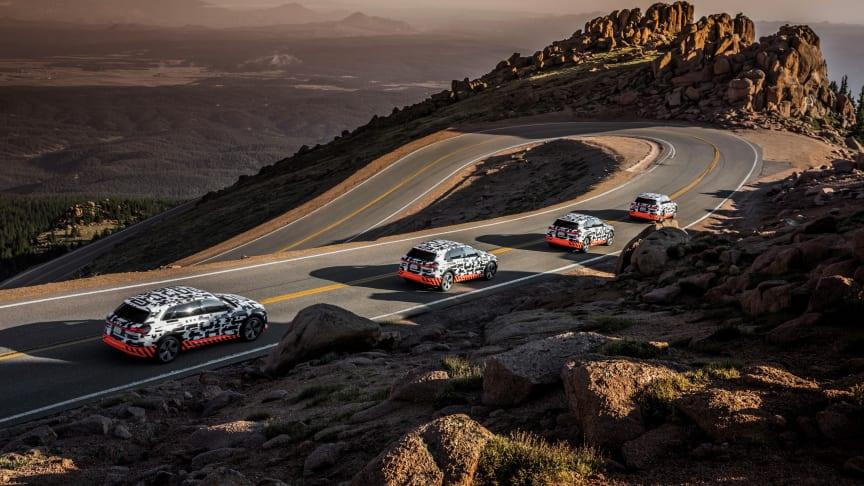 4x Audi e-tron prototype i rekuperationstest på Pikes Peak