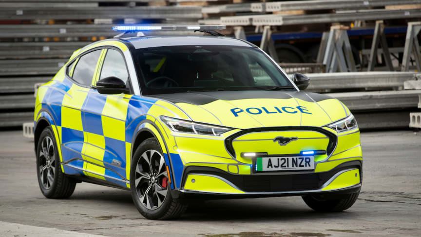 Ford med spesialbygd Mustang Mach-E politibilkonsept