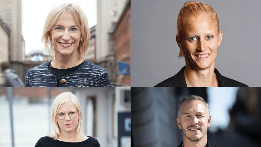 Från vänster i bild: Kristina Alvendal, Carolina Klüft, Karin Ernlund, Patrik Andersson