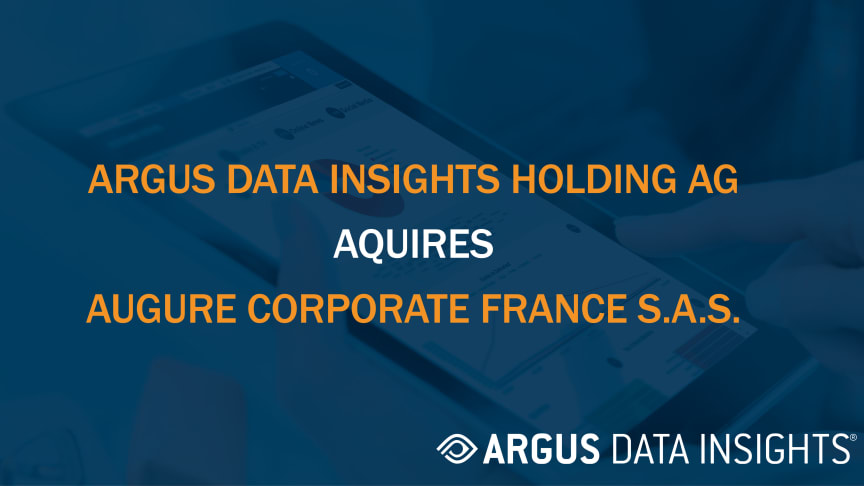ARGUS DATA INSIGHTS Holding AG acquires Augure Corporate France S.A.S.