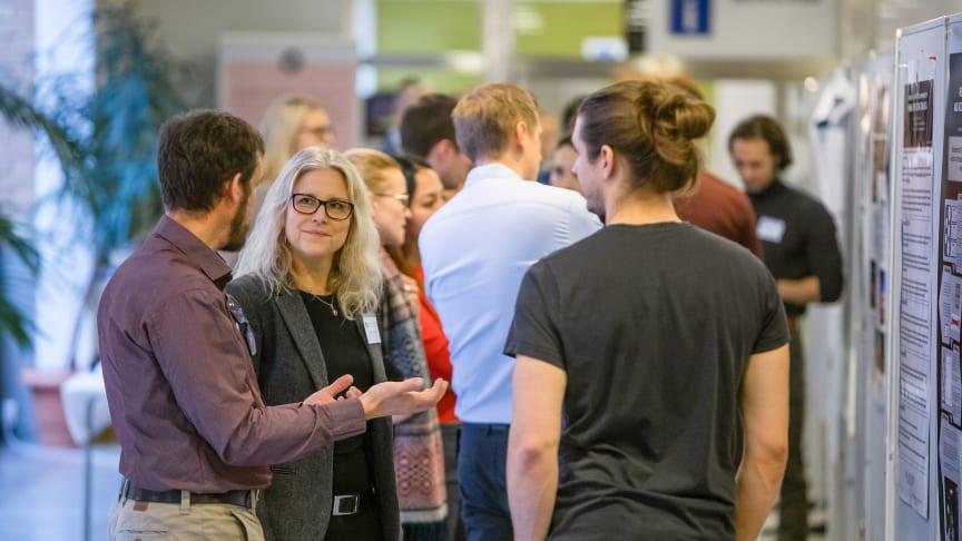 Professor Anna Linusson Jonsson minglar på en workshop med Företagsforskarskolan vid Umeå universitet.