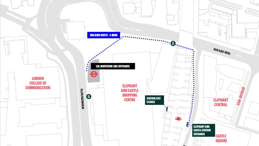 The new walking route for Thameslink passengers connecting with the Northern line at Elephant & Castle, from 24 September 2020