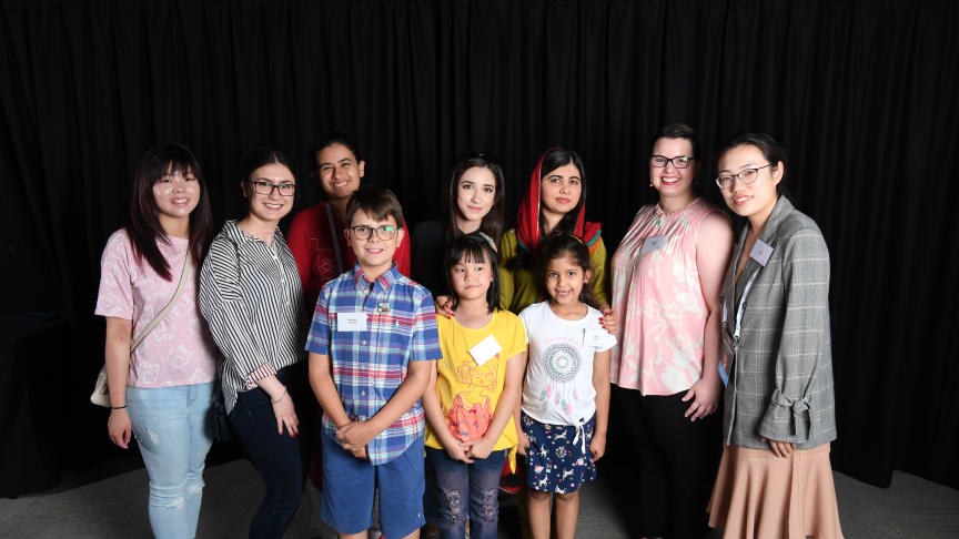 Malala Yousafzai with young cochlear implant recipients from China, India, Brazil, Indonesia and Australia.