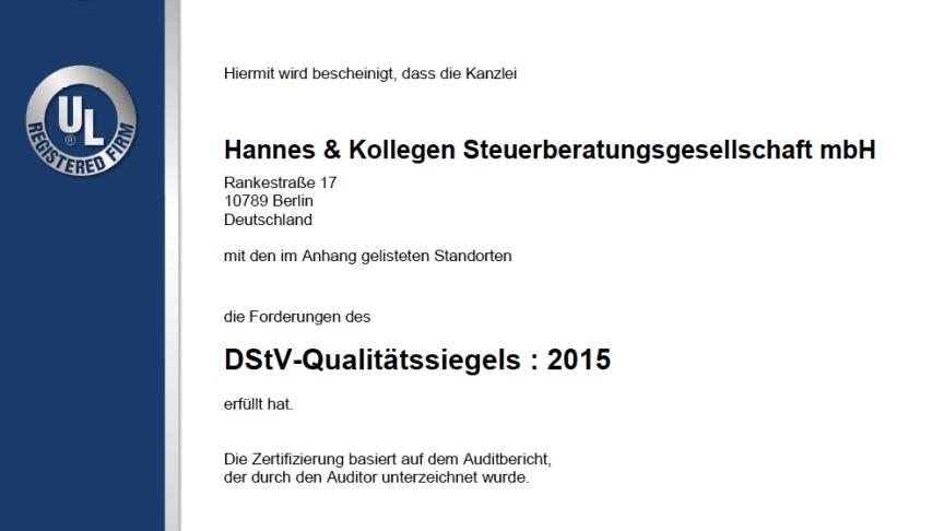 Zertifikat der DQS und das DStV-Qualitätssiegel 2020 erneuert.