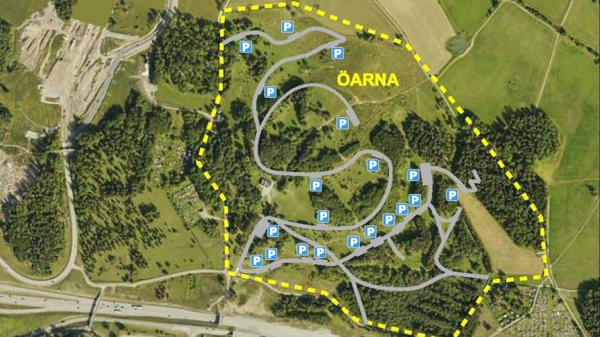 Flygfoto Öarna - kyrkogårdsförvaltningens förslag