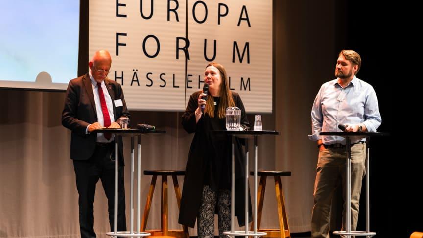 Samtal under Europaforum 2019 med Hans Dahlgren (Sveriges EU-minister), Torbjörn Sjöström (VD Novus) och Maria Strömvik (Biträdande föreståndare Centrum för Europaforskning, Lunds Universitet). Foto: fotografdaniel.se