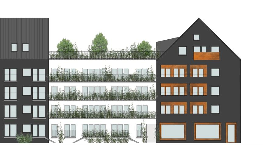 HSBs planerade projekt i kvarteret Spiggan, Sorgenfri. Tidig skiss av fasad mot sydväst.