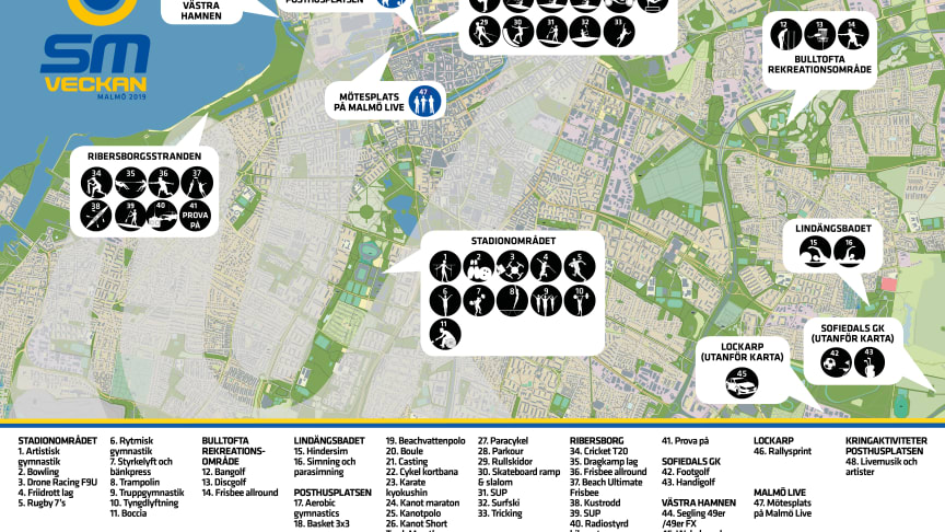 Tävlingsdagar och platser under SM-veckan i Malmö
