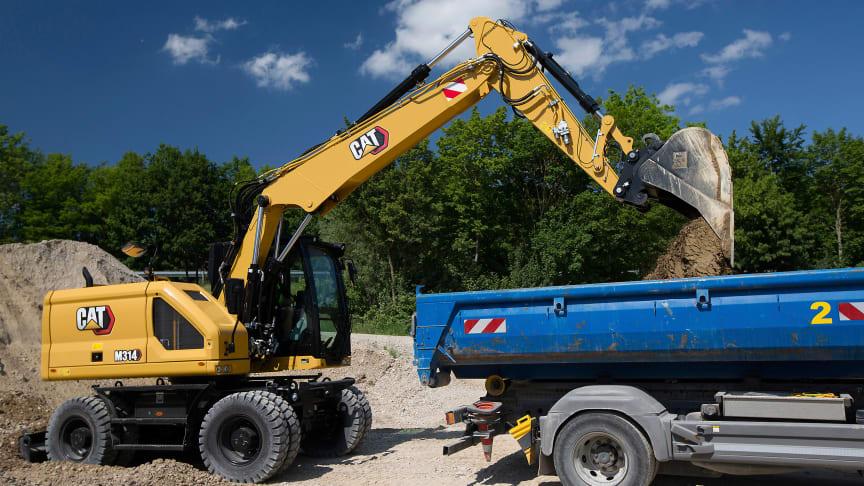Nya hjulgrävaren Cat M314 i arbete