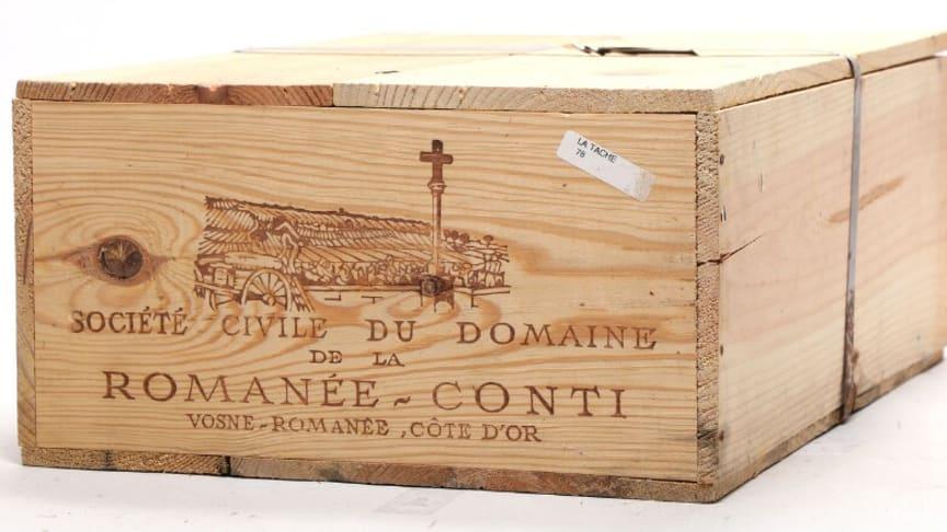 12 bottles of La Tache Grand Cru, Domaine de la Romanée Conti 1978. The estimate from Bruun Rasmussen Auctioneers was DKK 250,000-300,000 (€ 33,500-40,200).