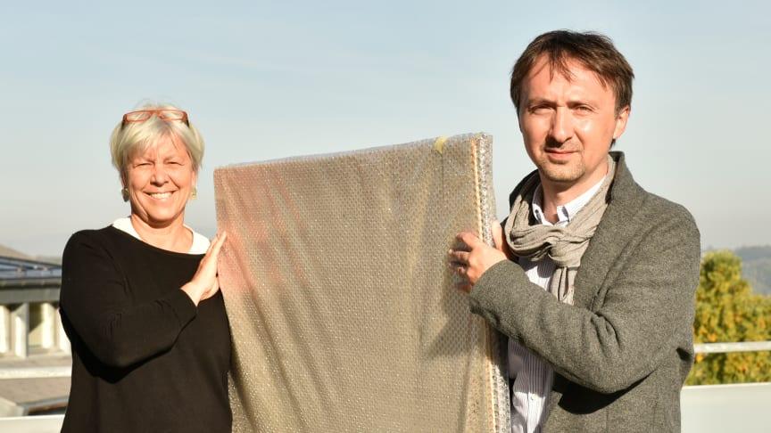 Kuratorin Marianne Schubert, Leiterin der Sektion für Bildende Künste am Goetheanum, und Auktionator Andrej Schindler (Foto: Anna Krygier)