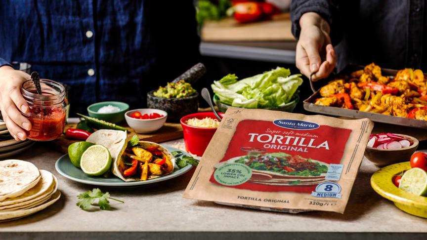 150 ton mindre plast med ny tortillaförpackning från Santa Maria