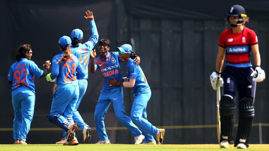 India celebrate the dismissal of Amy Jones (Image: BCCI)