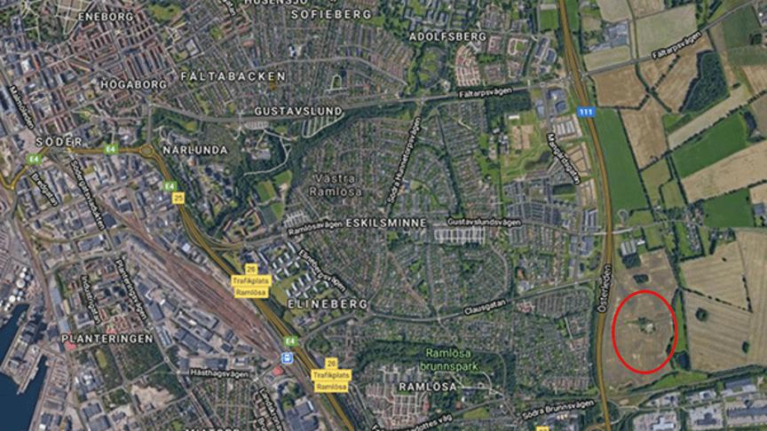 Det nya sjukhuset ska ligga på Östra Ramlösa, som är markerat på kartan.