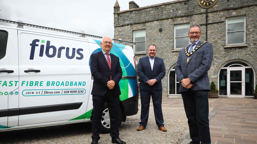 Mayor of Mid and East Antrim, Cllr William McCaughey, with DCMS Project Director, Billy McClean and Fibrus Chief Executive Dominic Kearns.