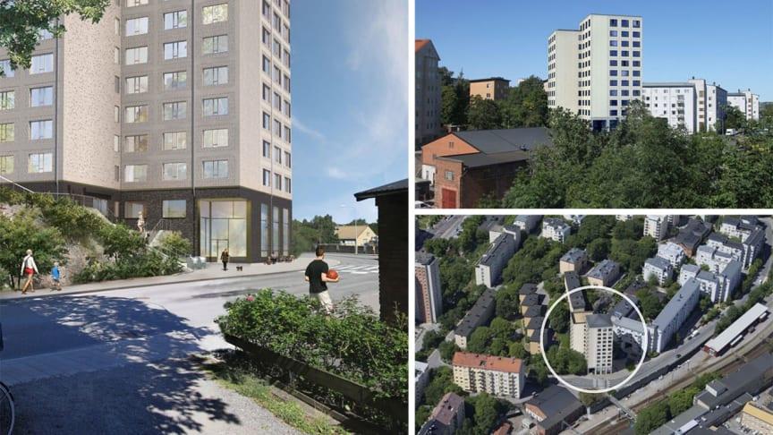 Bostäderna får bästa tänkbara läge, centralt i Stockholm, endast en gångbro från Campus.
