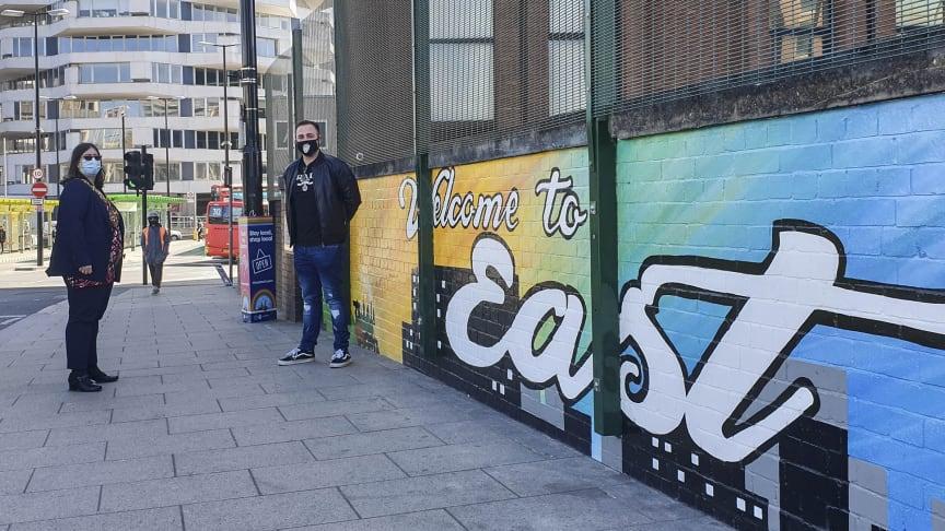 East of Croydon:  Mayor of Croydon Cllr Maddie Henson visits East Croydon station's new 35-metre mural with artist Joe Rashbrook
