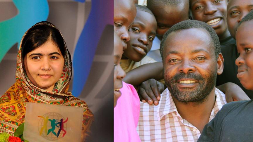 Malala Yousafzai och Murhabazi Namegabe, kämpe för barnsoldater, är två av åtta kandidater som har chansen att bli valda till World's Children's Prize Årets barnrättshjälte 2020.