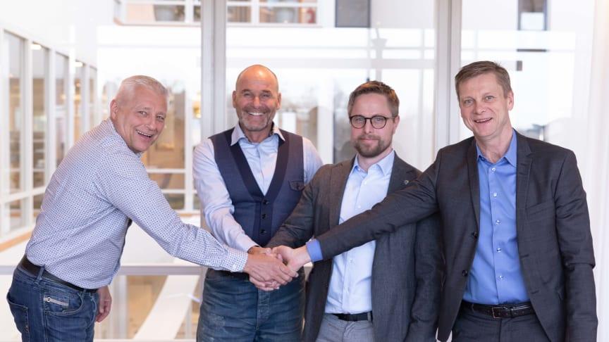 Midroc satsar i Norrland. Charles Andersson divisionschef, Kim Soini ekonomichef, Johan Gustafsson Vd Cranex och Mikael Vestlund Vd Midroc Electro.