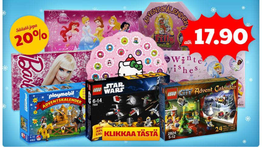 Adventtikalenterit alk. 19,90 €   Legowear, Name it, Småfolk talvivaatteita - 50%   Neuletakkeja ja pitkähihaista -50%   Halloween-tuotteita!   Voita BRIOn nukenvaunut!