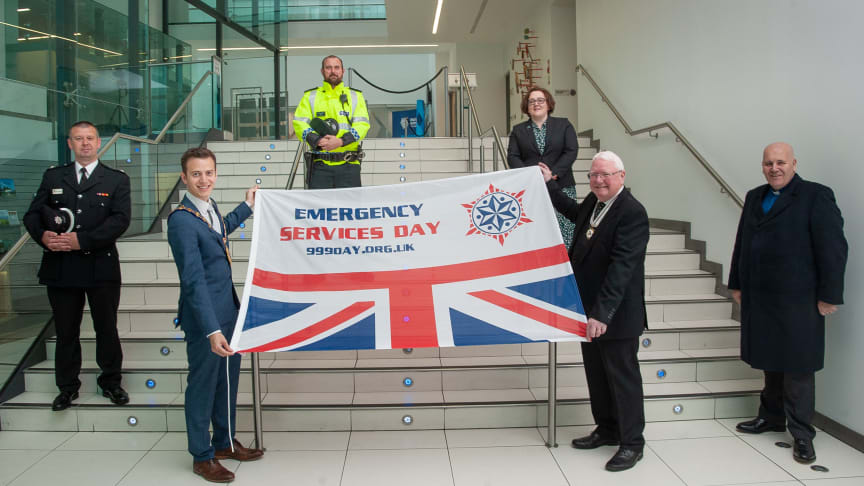 Mayor of Mid and East Antrim Borough, Councillor Peter Johnston pictured with the Deputy Lieutenant of County Antrim, Mr James Perry MBE and representatives from the Emergency Services on Emergency Services Day 2020