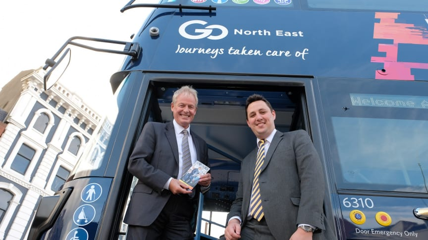 Kevin Carr (left)  shows Tees Valley Mayor Ben Houchen the new X9/X10 bus