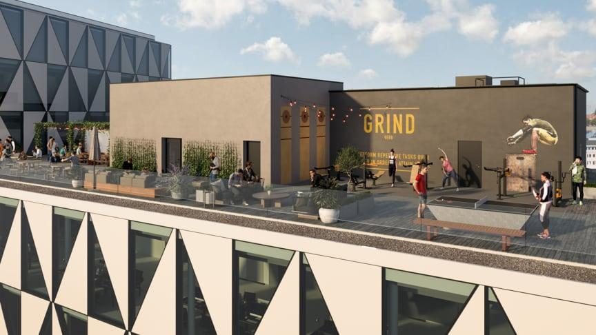 Takterrassen på kontorshuset Prisma kommer ge möjlighet till både jobb, träning och avkoppling.
