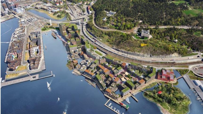 HAV Eiendom har fokus på lokal, global, sosial og økologisk bærekraft i utviklingen av Grønlikaia i Oslo. Illustrasjon: Rodeo Arkitekter