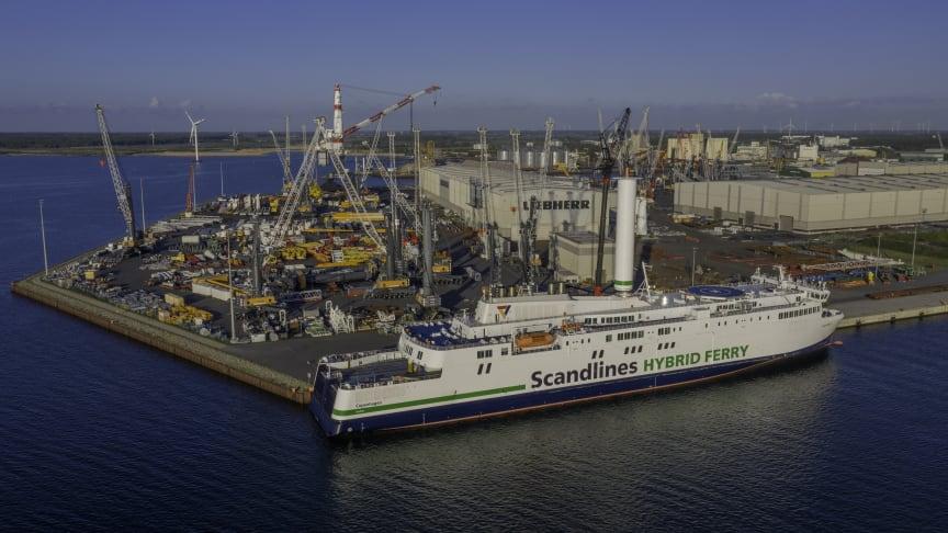 Scandlines' hybridfærge sejler nu med Norsepower rotorsejl