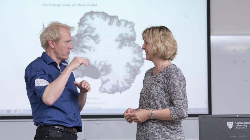 Prof. Hilmar Gudmundsson explaining the modelling tool to Prof. Christine Hvidberg of the University of Copenhagen