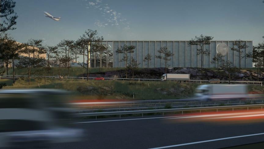 Visionsbild över kommande logistikanläggning vid Göteborg Landvetter Airport. Arkitekter: Spring Arkitektkontor