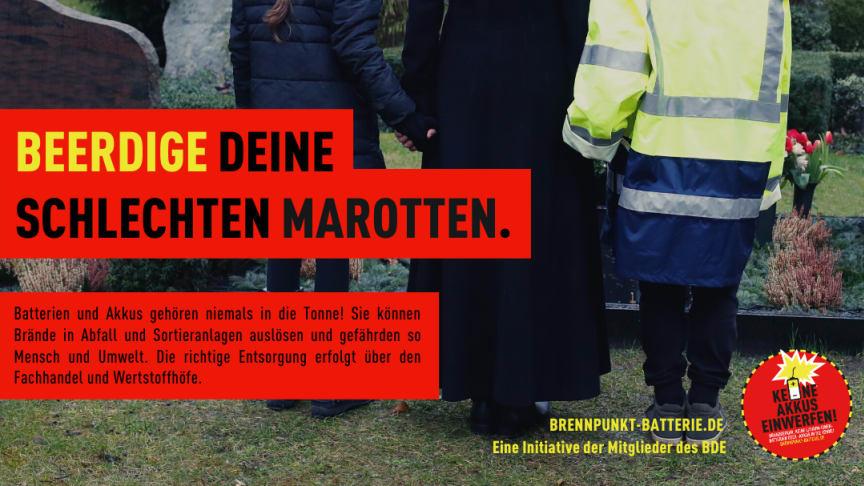 Beerdige deine schlechten Marotten. Kampagnenmotiv von www.brennpunkt-batterie.de.